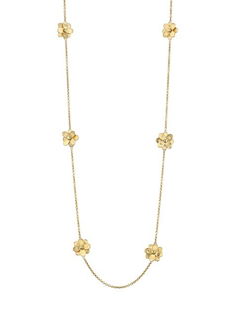 Petali 18K Yellow Gold & Diamond Flower Station Long Necklace
