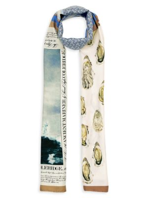 Burberry Oyster Monogram Mariner Print Silk Scarf