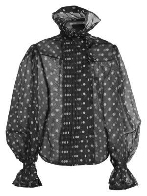Marc Jacobs Runway Polka Dot Silk Organza Ruffle Collar Blouse In Black