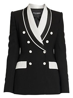 8d8171dc Dolce & Gabbana. Double Breasted Stretch Silk & Wool Contrast Blazer