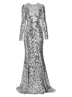 2e54a7c6 QUICK VIEW. Dolce & Gabbana. Long-Sleeve Sequin Flare Gown