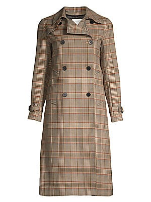 Stain Plaid Trench Coat by Sandro