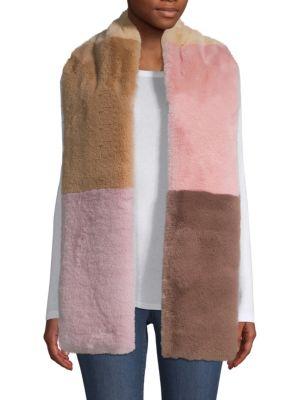Jocelyn Accessories Savage Love Faux Fur Wide Colorblocked Scarf