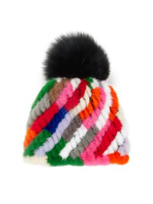 889d7cdff Savage Love Multicolor Stripe Mink & Fox Fur Pom-Pom Beanie in Rainbow