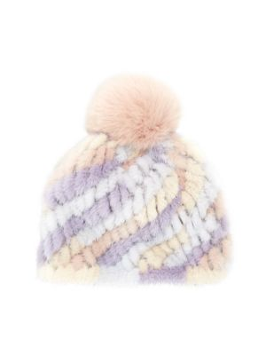 acb32642f Savage Love Pastel Stripe Mink & Fox Fur Pom-Pom Beanie in Multi