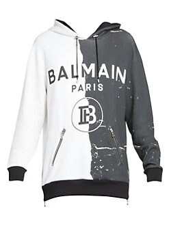 17979352f Half Print Side-Zip Hoodie BLACK WHITE. QUICK VIEW. Product image