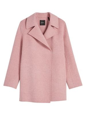 Theory Wool Cashmere Overlay Coat