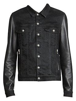 639dc73e86aa Product image. QUICK VIEW. Balmain. Denim & Leather Jean Jacket