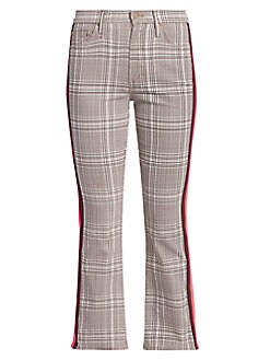 8f82a3599ea2ee QUICK VIEW. MOTHER. Insider Plaid Kick Flare Cropped Pants