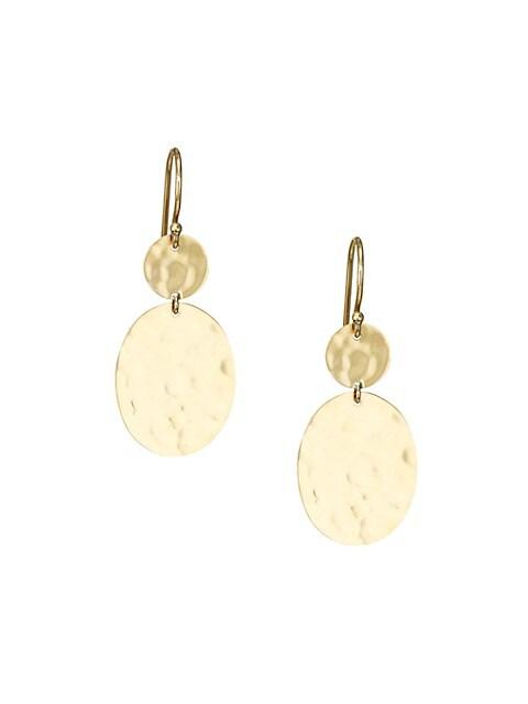 Classico 18K Yellow Gold Crinkle Snowman Drop Earrings