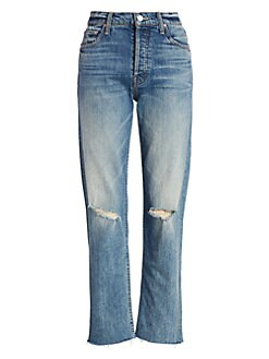 3eb3e872eb6 QUICK VIEW. MOTHER. Tomcat High-Rise Distressed Straight-Leg Jeans