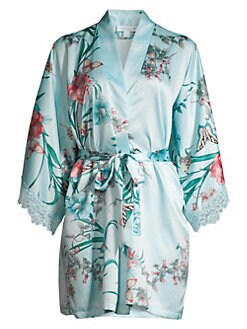 bafae280a Lace-Trim Floral Satin Robe GOLDEN BUTTERFLY. QUICK VIEW. Product image