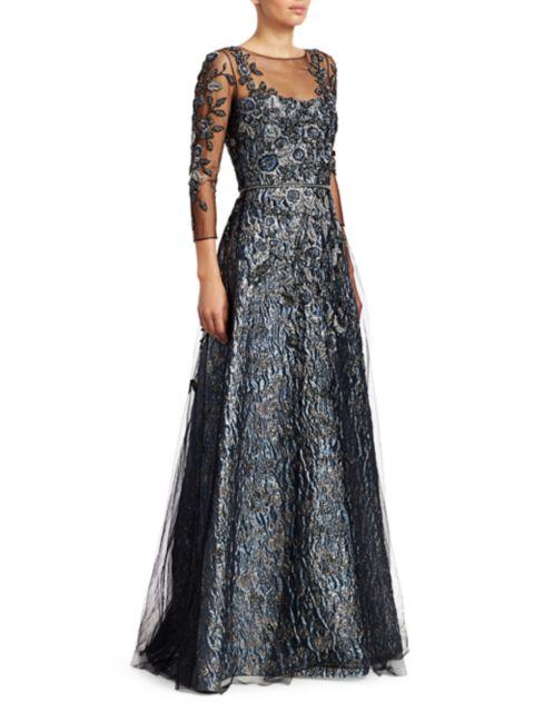 Theia Floral Beaded Illusion Gown   SaksFifthAvenue
