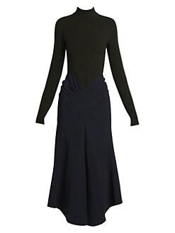 e5d07ee9 Victoria Beckham. Mockneck Draped Midi Dress