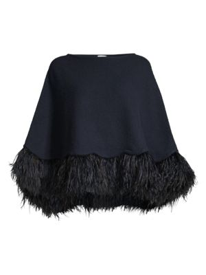Carolyn Rowan Feather Trim Cashmere Poncho
