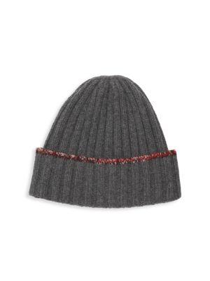 Carolyn Rowan Tweed Edge Cashmere Hat In Dark Heather Grey