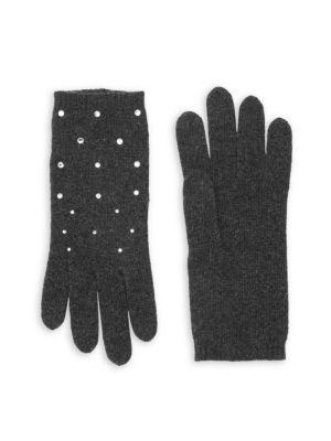 Carolyn Rowan Scattered Swarovski Crystal Cashmere Gloves In Heather Grey