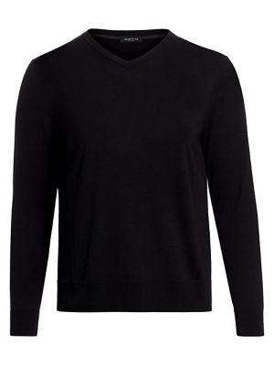Lafayette 148 Fine Gauge Wool V-neck Sweater