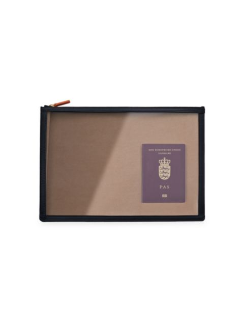 Stow See-View Leather-Trim Clear Folio | SaksFifthAvenue