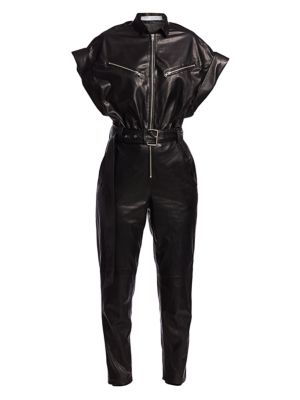 Iro Moreno Short Sleeve Leather Jumpsuit