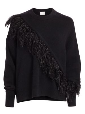Cinq Sept Merritt Feather Trim Crewneck Sweater
