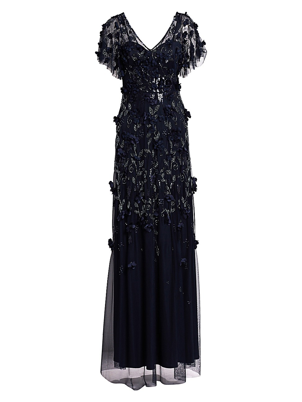 Theia Women's Flutter Sleeve Floral Appliqué Gown In Midnight