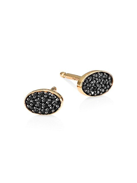 18K Rose Gold & Black Diamond Sequin Stud Earrings