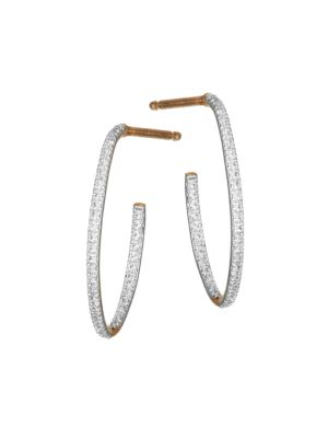 Ginette Ny 18k Rose Gold White Diamond Ellipse Hoop Earrings