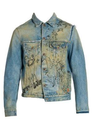 Off White Wizard Deconstructed Denim Jacket