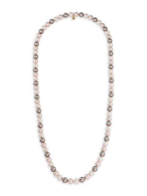 10MM Tri-Tone Organic Man-Made Pearl Long Necklace