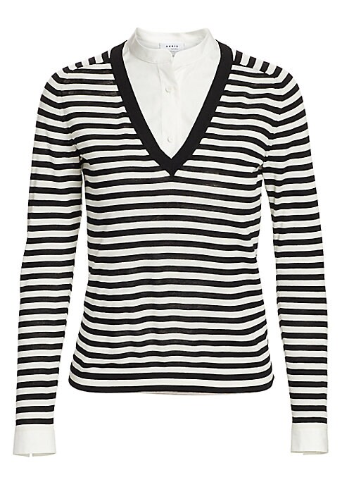 Akris punto Women's Poplin Layered Striped Knit Sweater Black Cream Size 16