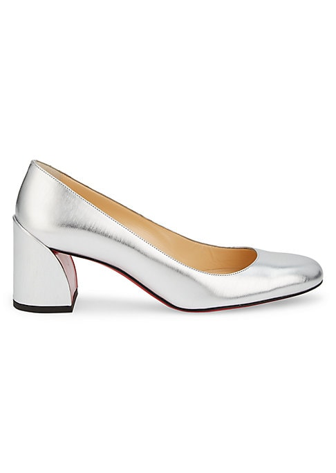 Crafted of dazzling metallic leather, these almond-toe pumps are set atop a curved block heel. Leather upper Almond toe Slip-on style Leather sole Made in Italy SIZE Self-covered block heel, 2.25\