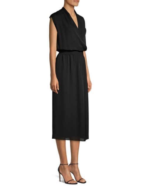 Theory Silk Wrapped Blouson Midi Dress   SaksFifthAvenue