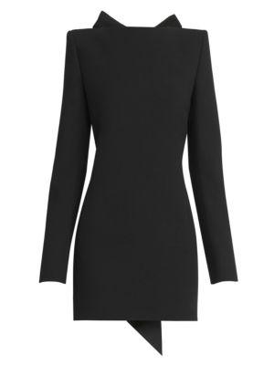 Saint Laurent Open Back Bow Wool Mini Dress