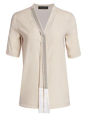 Fabiana Filippi Brilliant Trim Stretch Silk Blouse