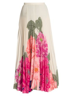 Valentino Skirts Camelia Plissé Pleated Floral Silk Maxi Skirt