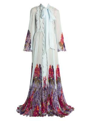 Valentino Tops Orensie Chiffon Plissé Pleated Tieneck Silk Gown