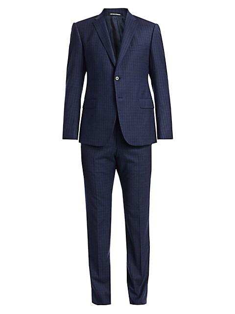 Wool Wiindowpane Suit