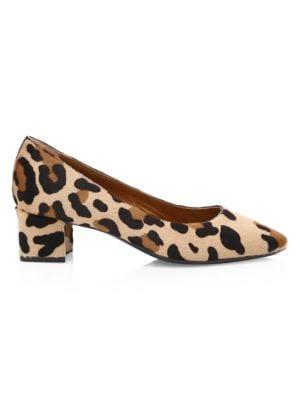 Aquatalia Pasha Leopard Print Calf Hair Pumps