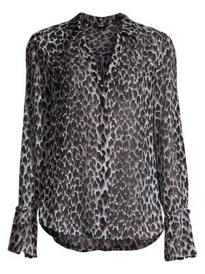 detailed look uk cheap sale high quality Abriana Animal-Print Silk Shirt