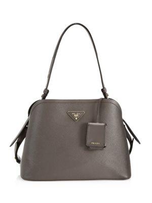 Prada Small Matinee Leather Top Handle Bag In Fumo Nero