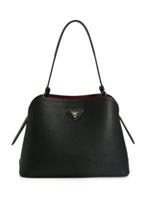 Prada Small Matinee Leather Top Handle Bag In Nero Cerise