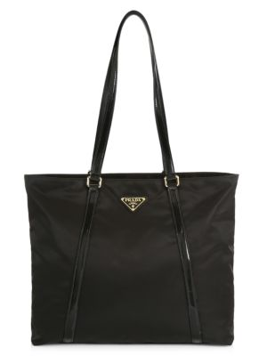 Prada Nylon Shopper Tote In Black