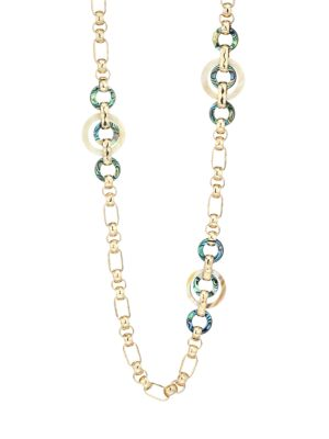 Akola 10k Goldplated Abalone Station Chain Necklace
