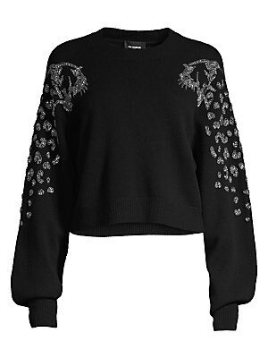 66722516a The Kooples - Embellished Puff-Sleeve Crop Sweater