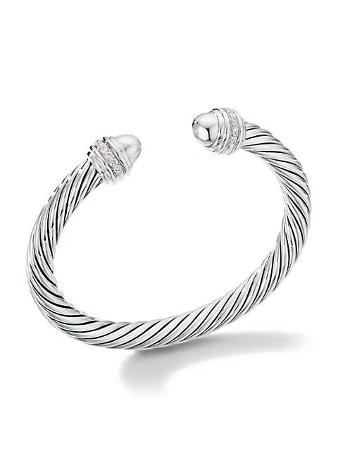 Cable Bracelet with Pavé Diamonds