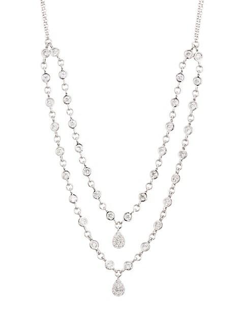 14K White Gold & Diamond Double-Strand Bezel Necklace