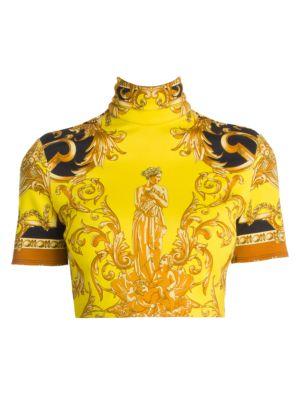 Versace Femme Baroque Highneck Jersey Crop Top