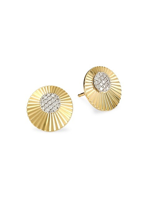 Aura 14K Yellow Gold & Diamond Mini Stud Earrings