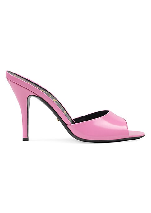 Bubblegum pink polished leather Open toe Slip-on style Gucci-print lining Leather sole Self-covered stiletto heel, 3.75\